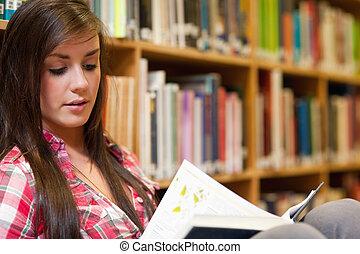 estudante, femininas, leitura