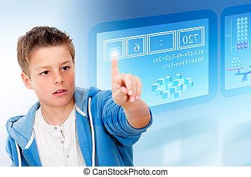 estudante, futurista, jovem, virtual, interface.