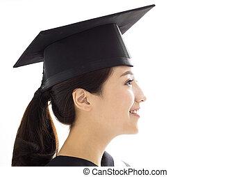 estudante, graduado, femininas, vista, lado, feliz