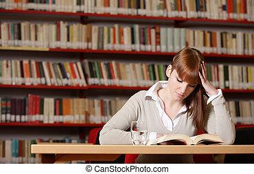estudante, jovem, biblioteca