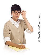 estudante, jovem, raça, adulto, femininas, misturado, tabela, bonito