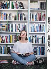 estudante, livro, biblioteca, femininas, leitura