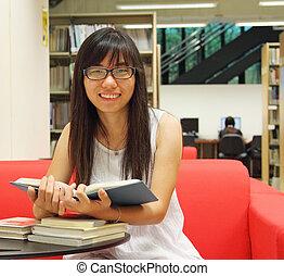 estudante, menina, asiático, biblioteca
