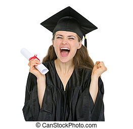 estudante, menina, diploma, graduação, excitado