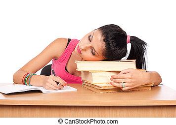 estudante, menina, em, dela, escrivaninha