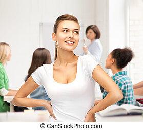 estudante, menina, em, em branco, t-shirt branco, em, escola