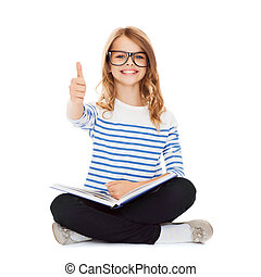 estudante, menina, estudar, e, livro leitura