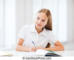 estudante, menina, estudar, em, escola