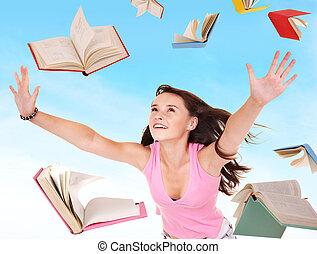 estudante, menina, segurando, pilha, de, books.