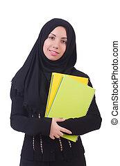 estudante, muçulmano, livros, jovem, femininas