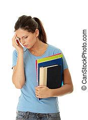 estudante, mulher, com, depressão