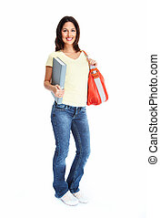 estudante, mulher, jovem, book.