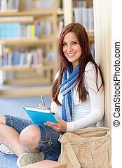 estudante, notepad, biblioteca, alto-escola, feliz