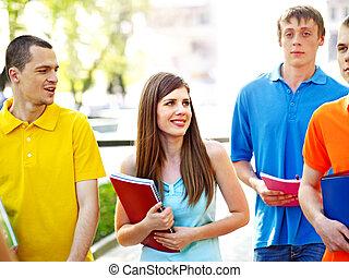 estudante, outdoor., livro, grupo
