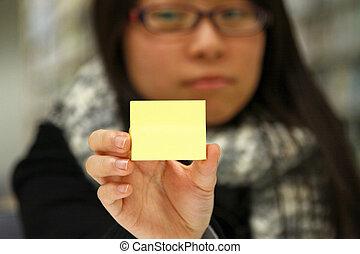 estudante, papel memorando, asiático, amarela
