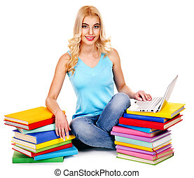 estudante, pilha, book.