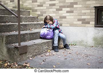 estudante primário, deprima, em, a, escola
