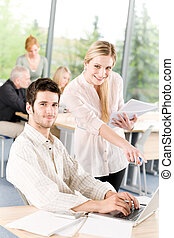 estudante, reunião,  businesspeople, escritório, tendo