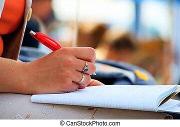 estudante, reunião conferência, cadernos, e, escrita