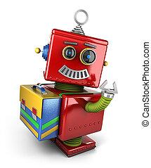 estudante, robô brinquedo