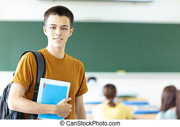 estudante, sala aula, macho, faculdade