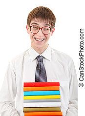 estudante, segurando, pilha, de, a, livros