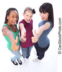 estudante, sucesso, para, étnico, menina adolescente, amigos