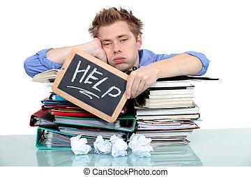 estudante, swamped, sob, trabalho