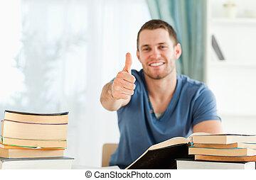 estudante, terminado, seu, livro, relatório