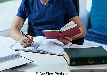 estudante, transcrevendo, a, notas
