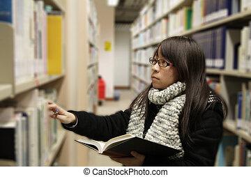 estudante, universidade, asiático, biblioteca