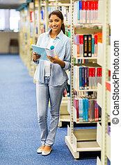 estudante universidade, biblioteca, femininas