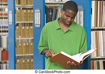 estudante, universidade, trabalhando, biblioteca