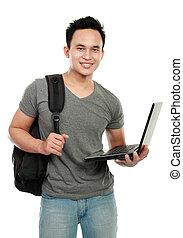 estudante universitário, com, laptop, isolado, branco, fundo