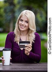 estudante universitário, com, telefone móvel