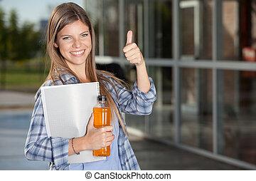 estudante universitário, dar, polegares cima