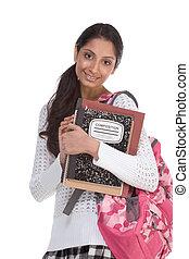 estudante universitário, jovem, indianas, mulher backpack