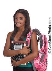 estudante universitário, jovem, mulher americana africana