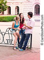 estudantes, adolescente, grupo, sorrir feliz