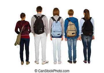 estudantes, adolescente, mochila
