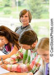 estudantes, adolescentes, lição, alto-escola, classe