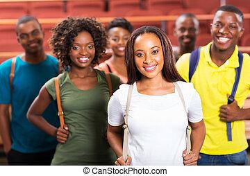 estudantes, americano afro, grupo, jovem