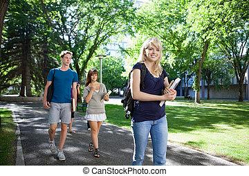 estudantes, andar, campus