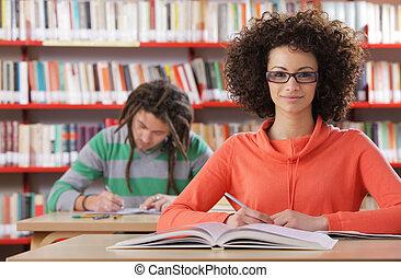 estudantes, biblioteca