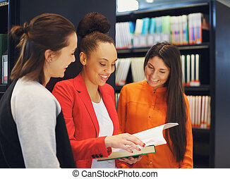 estudantes, biblioteca, preparar, junto, exames