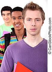 estudantes, branca, três, fundo