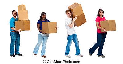 estudantes, caixas, faculdade, em movimento, amigos, ou
