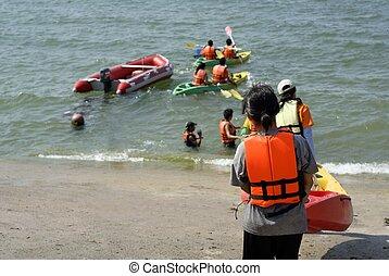 estudantes, canoa, atividade, em, litoral