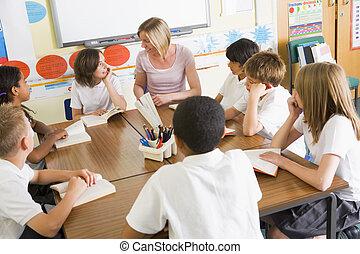 estudantes, classe, livros, professor, leitura