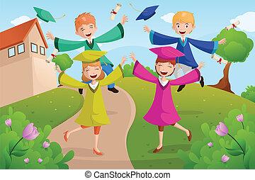 estudantes colégio, celebrando, graduação